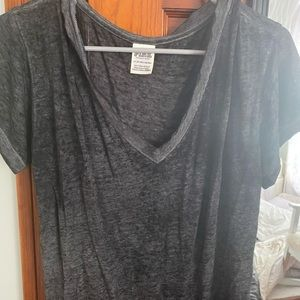 PINK heather grey v neck tee
